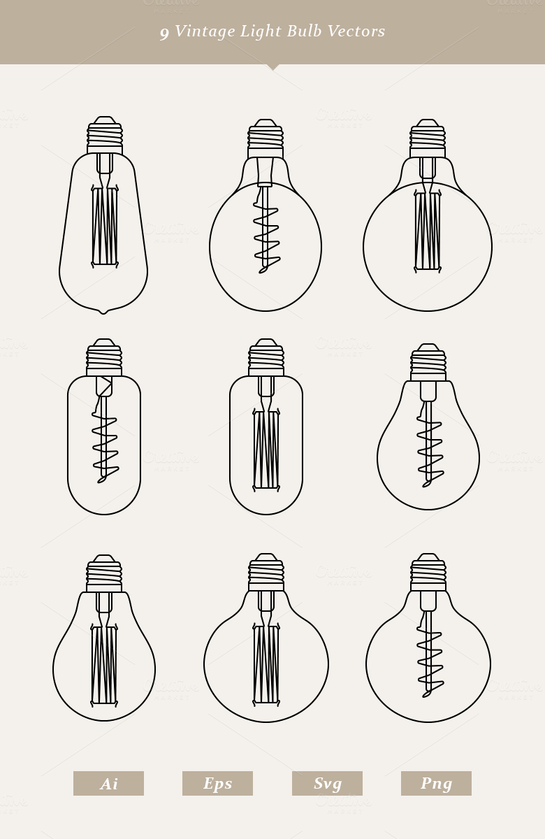 9 Vintage Light Bulb Vectors Objects On Creative Market
