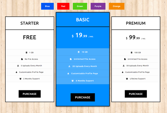 Pricing tables css3 website templates on creative market for Table design css3