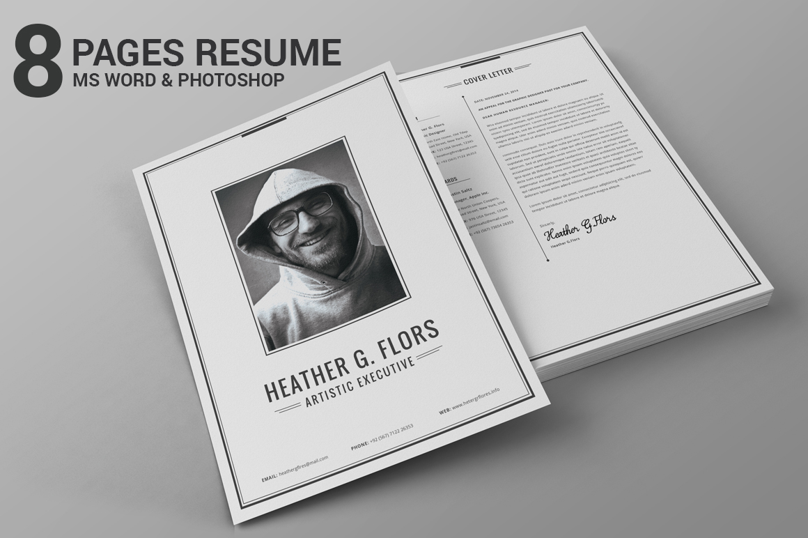 8 pages extended resume cv ms word