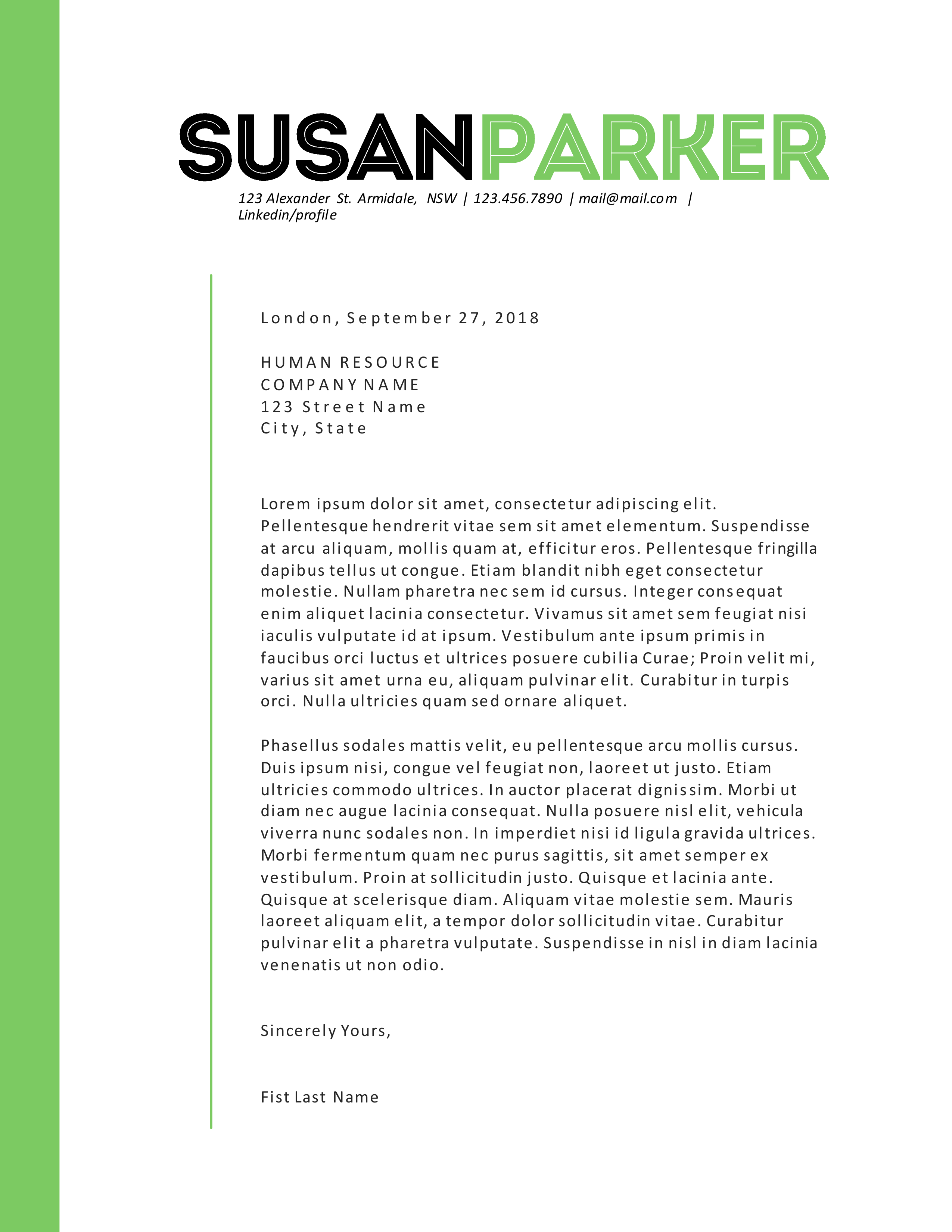 bold green modern resume template