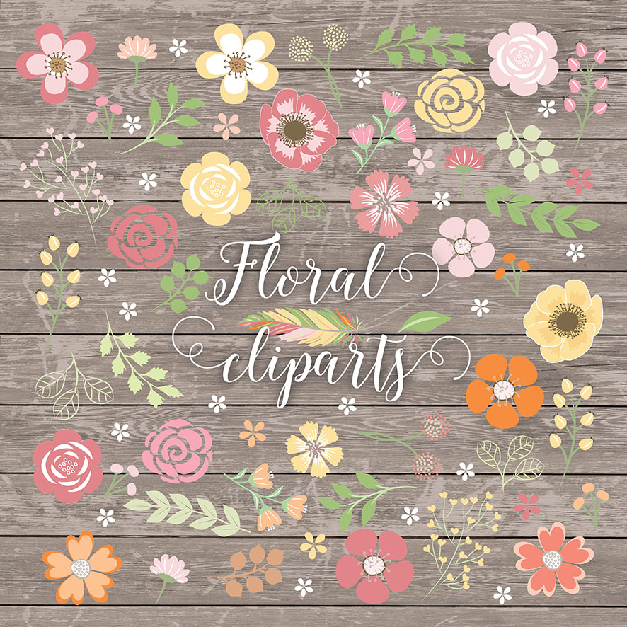 Vector shabby chic flower cliparts ~ Illustrations on ...