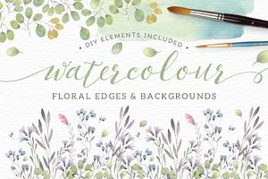 Watercolor floral edges+backgrounds