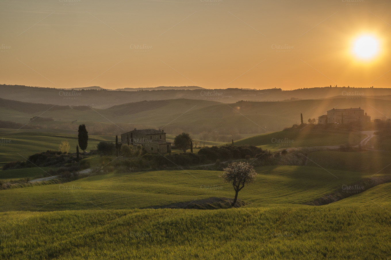 Sunset over idyllic Tuscany meadows ~ Nature Photos on Creative Market