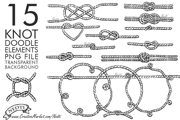 Knotted Rope Hand Drawn Clipart PNG ~ Illustrations on