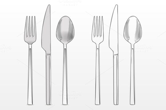 Line Drawing Knife And Fork : Fork knife and spoon objects on creative market