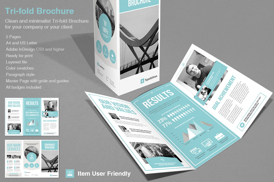 Tri fold corporate brochure templates on creative market for Trifold brochure templates