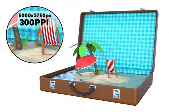 Mini Island Inside Suitcase 3D