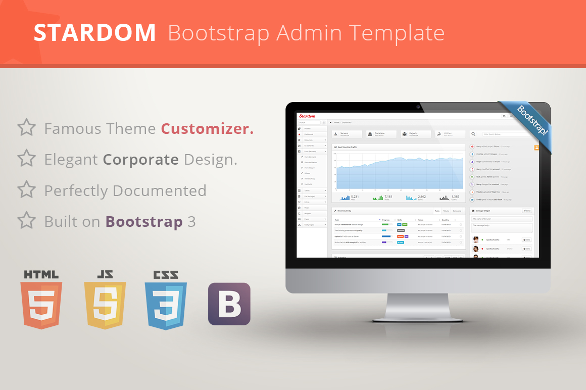 stardom bootstrap admin template bootstrap themes on creative market. Black Bedroom Furniture Sets. Home Design Ideas