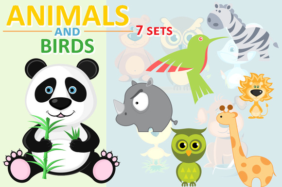 Animals and birds. 7 sets - Illustrations