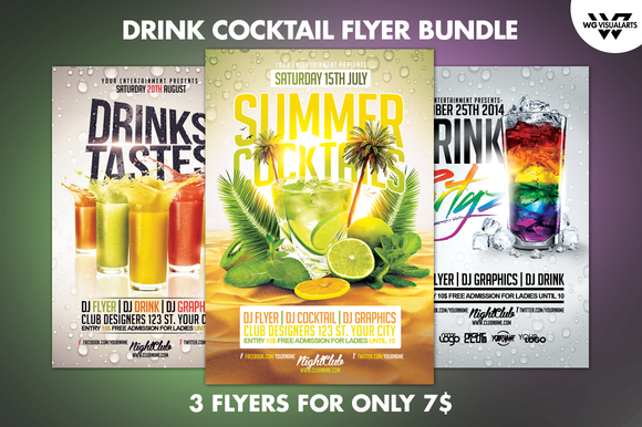 DRINK COCKTAIL Flyer Bundle ~ Flyer Templates on Creative ...