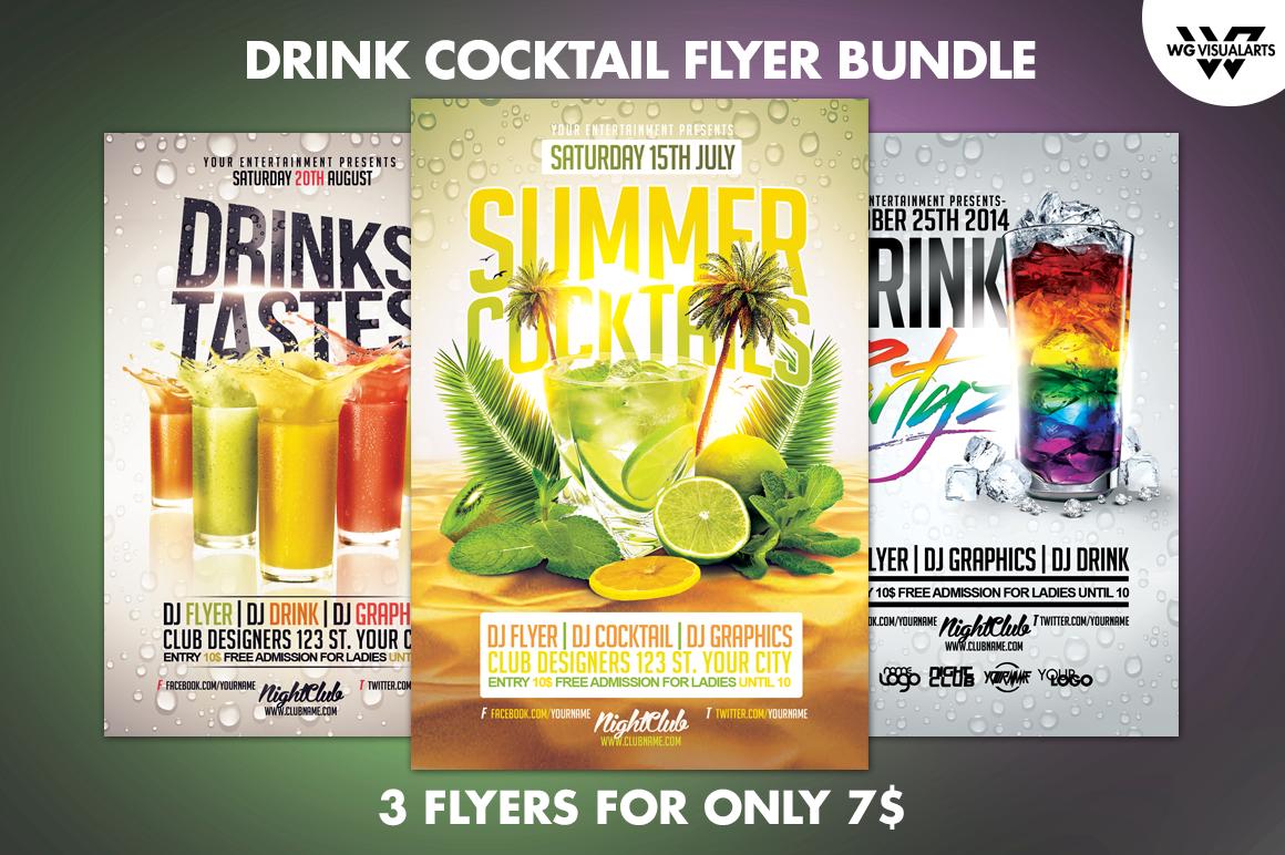DRINK COCKTAIL Flyer Bundle ~ Flyer Templates on Creative ...