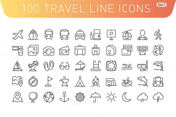 Travel Line Icons. Set 1 - Icons