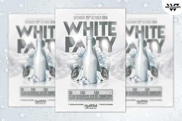 White Party Invitation Template White Party Flyer Template