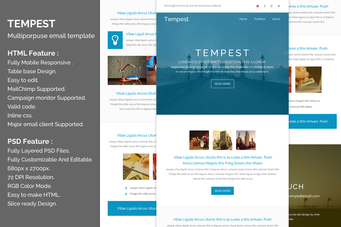 tempest responsive email template email templates on creative market. Black Bedroom Furniture Sets. Home Design Ideas