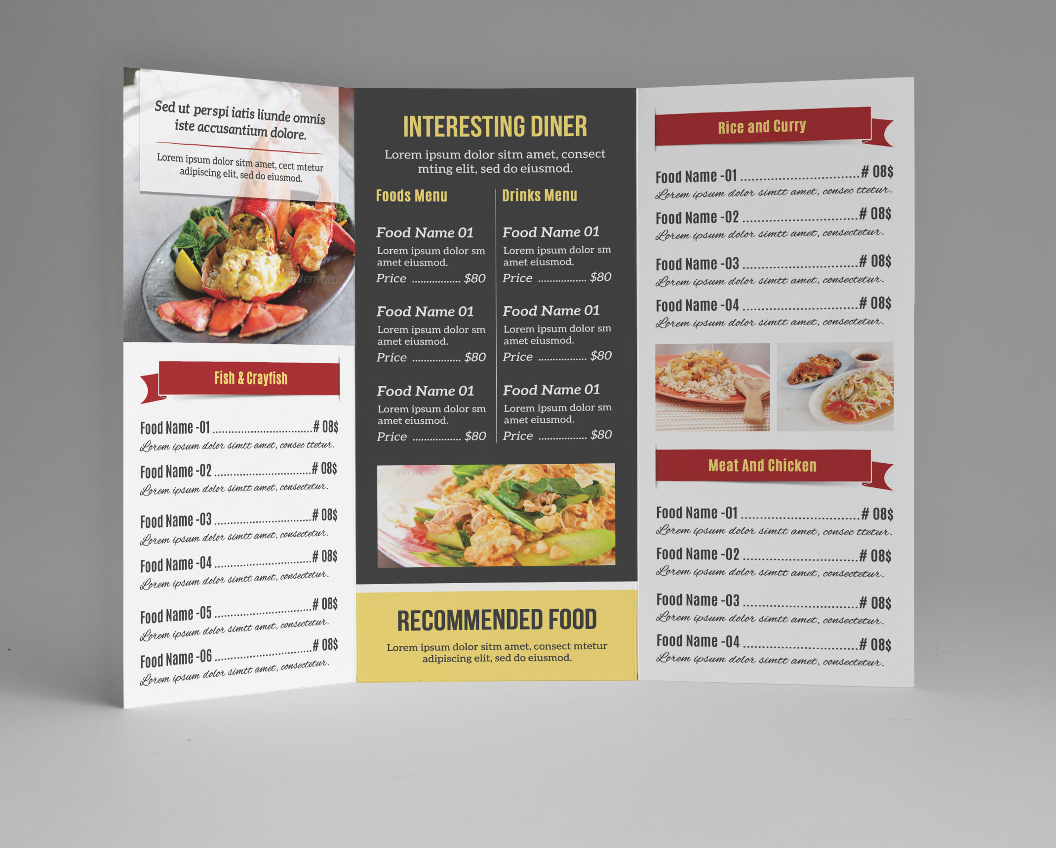 Food menu template v106 brochure templates on creative for Menu brochure template free