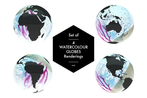 Set Of 4 Watercolour Globes Renders