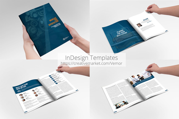business annual indesign template brochure templates on creative market. Black Bedroom Furniture Sets. Home Design Ideas