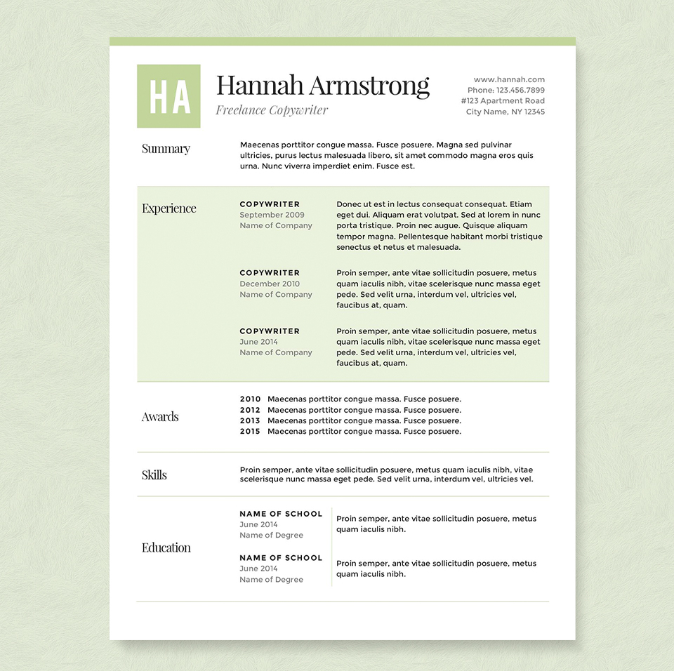 green resume template package resume templates on