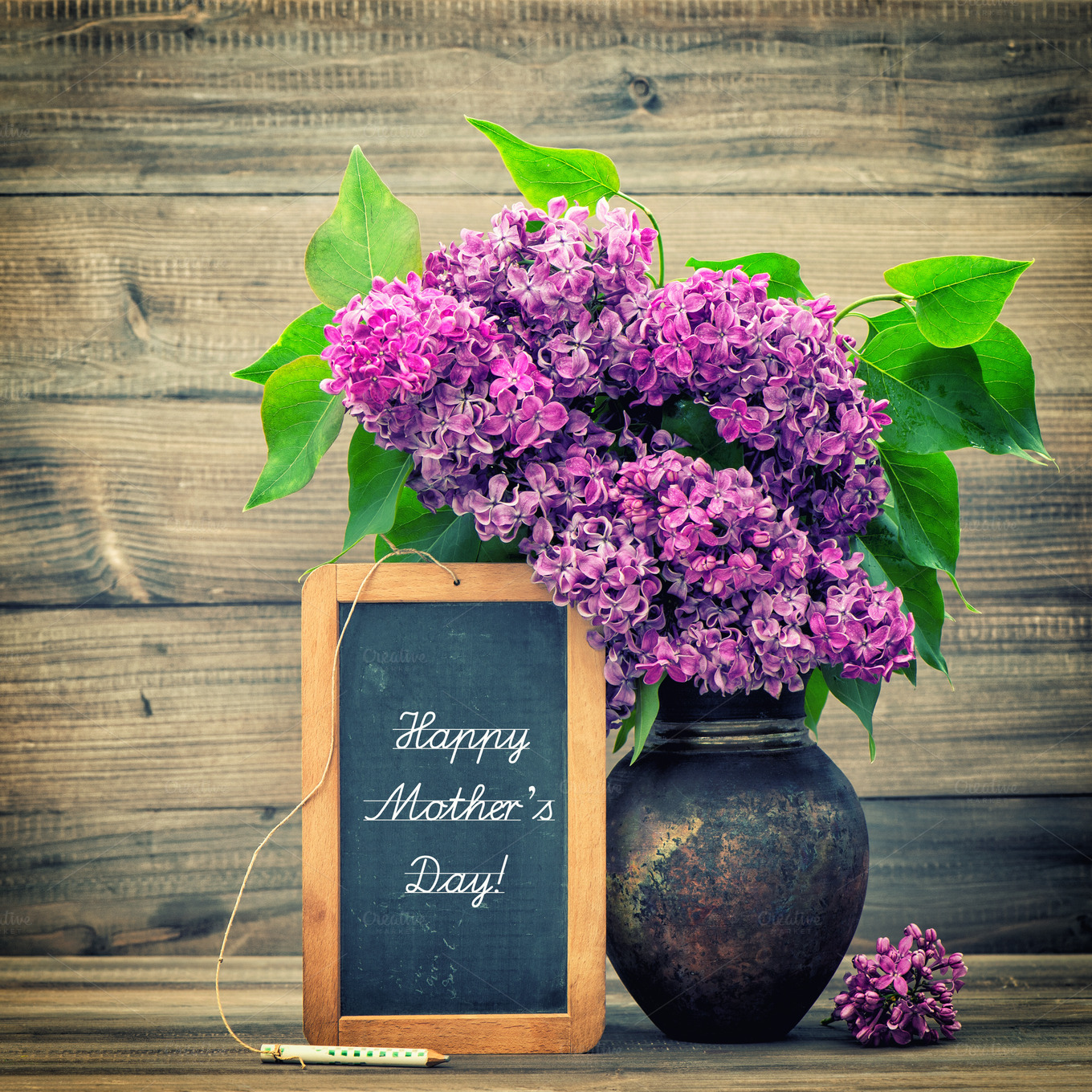 Creative Floral Flyer Of Happy Mothers Day Template For: Lilac Flowers. Happy Mother's Day!