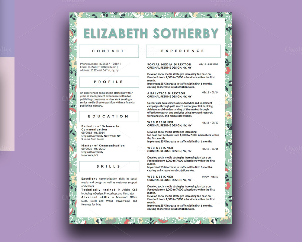 beautiful resume designs