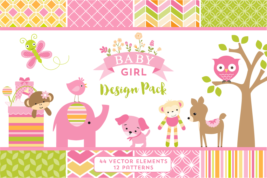Baby Calendar Design : Baby girl design pack illustrations on creative market