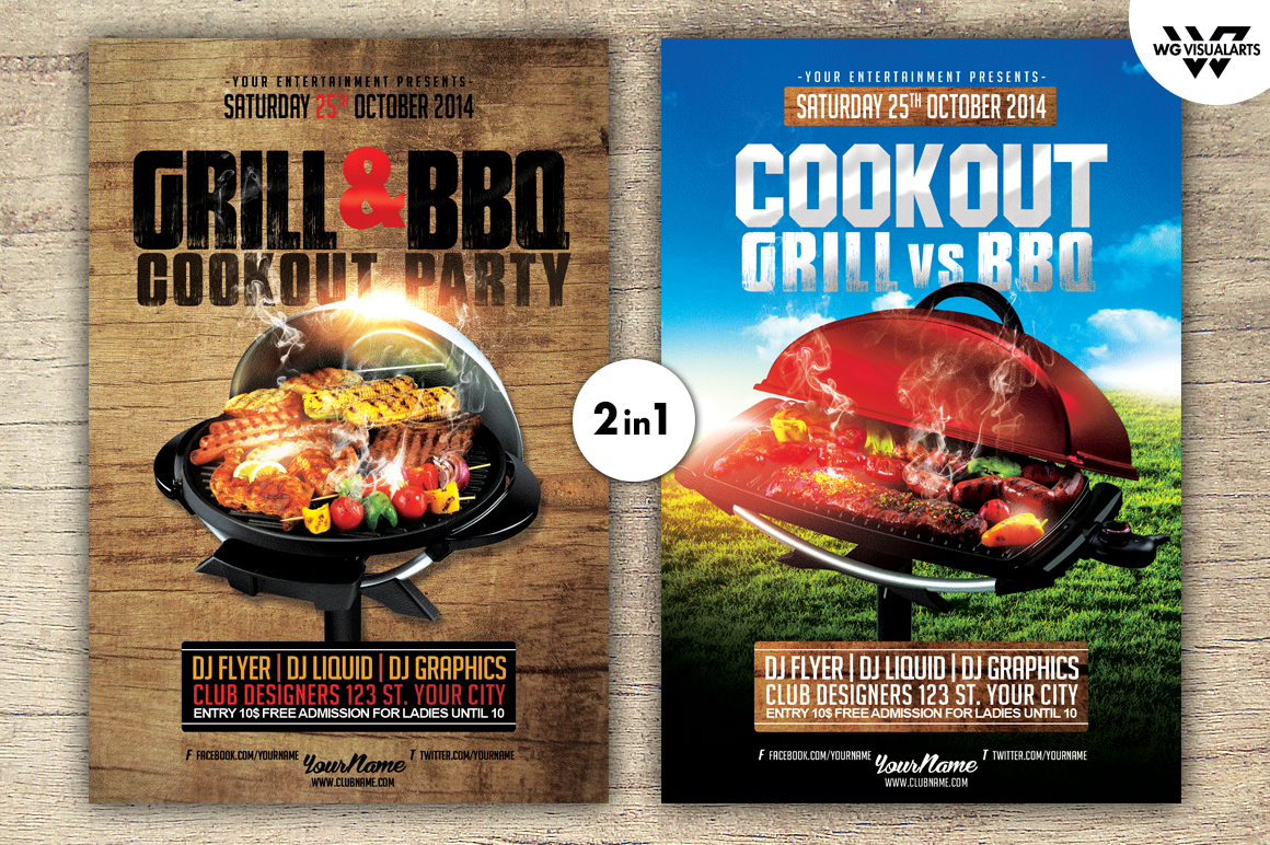 grill bbq cookout flyer template