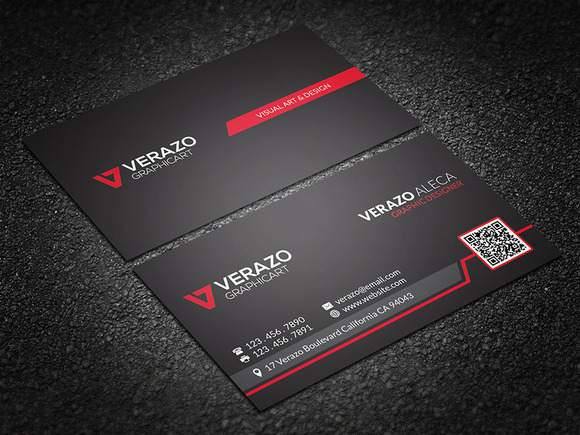 bold red qr code business card  business card templates