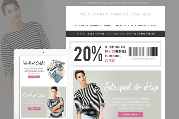 Sales fashion e mail template psd email templates on for Html email blast template