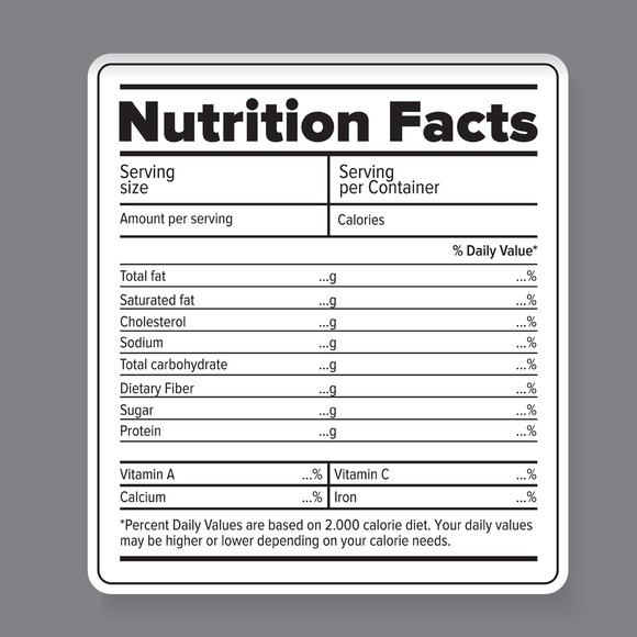 nutrition facts vector label objects on creative market. Black Bedroom Furniture Sets. Home Design Ideas