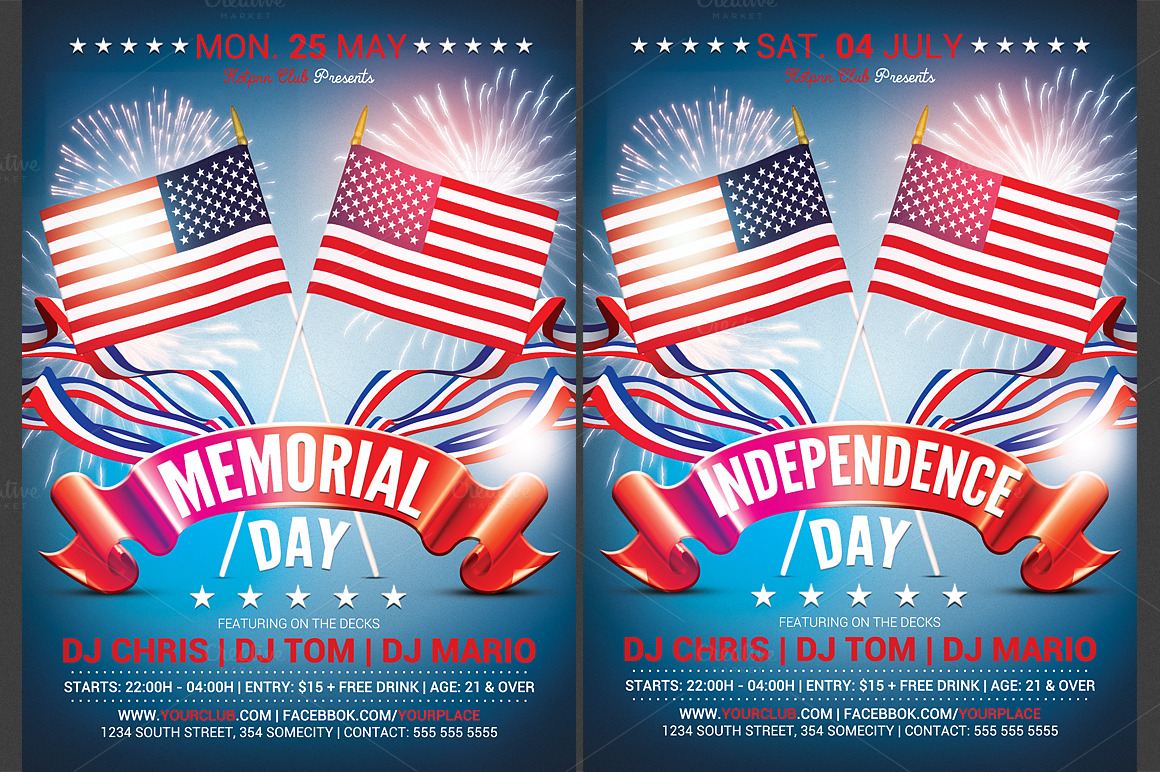 memorial  u0026 independence day flyer