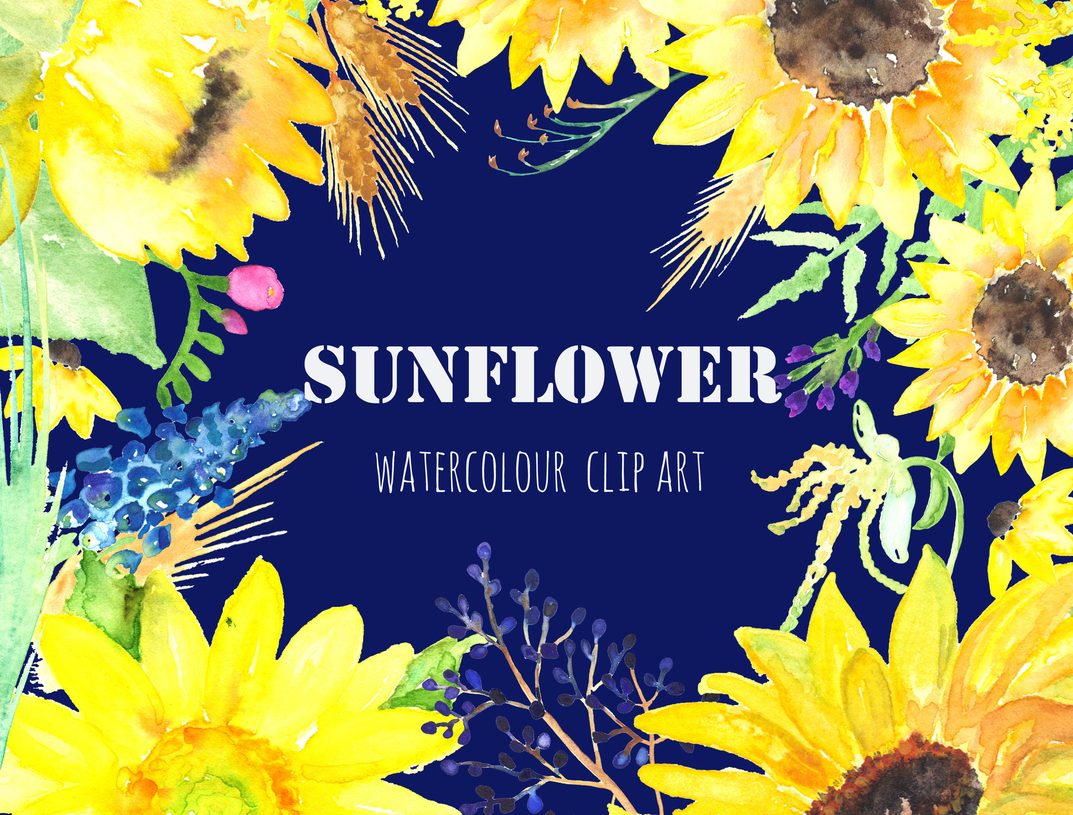 Sunflower Watercolor Clip Art Graphics On Creative Market