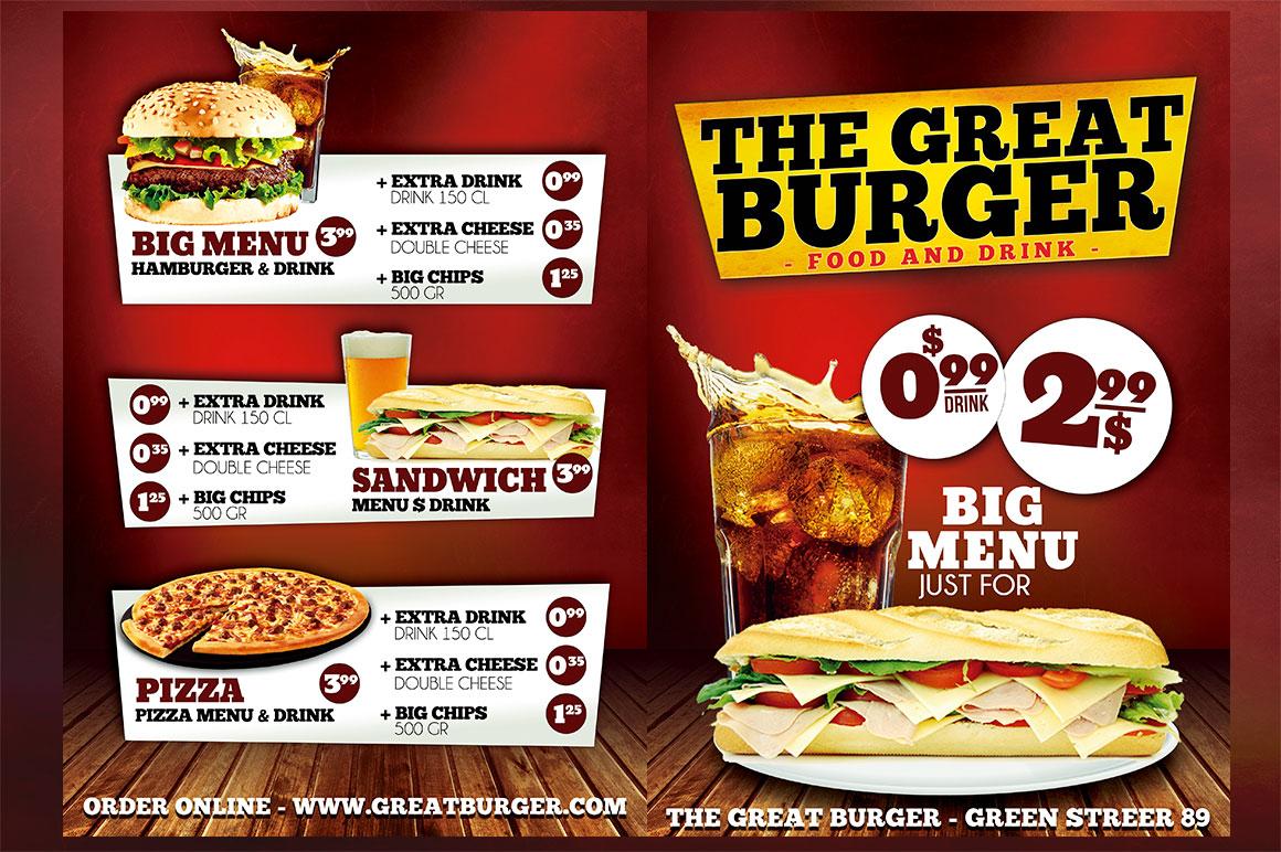 burns supper menu template - burger fast food menu restaurant psd flyer templates on