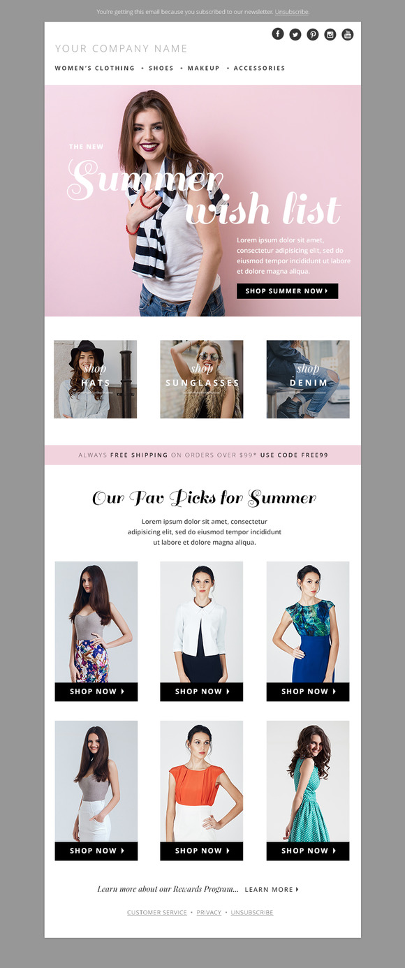 Summer Fashion E-mail Template ~ Email Templates on Creative Market