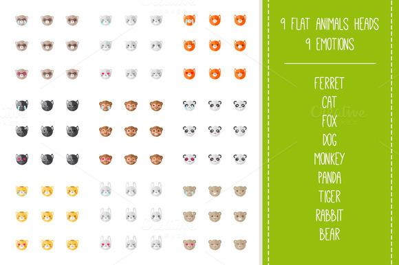 Zoo Mega Set. 9x9 animal emoticons - Icons