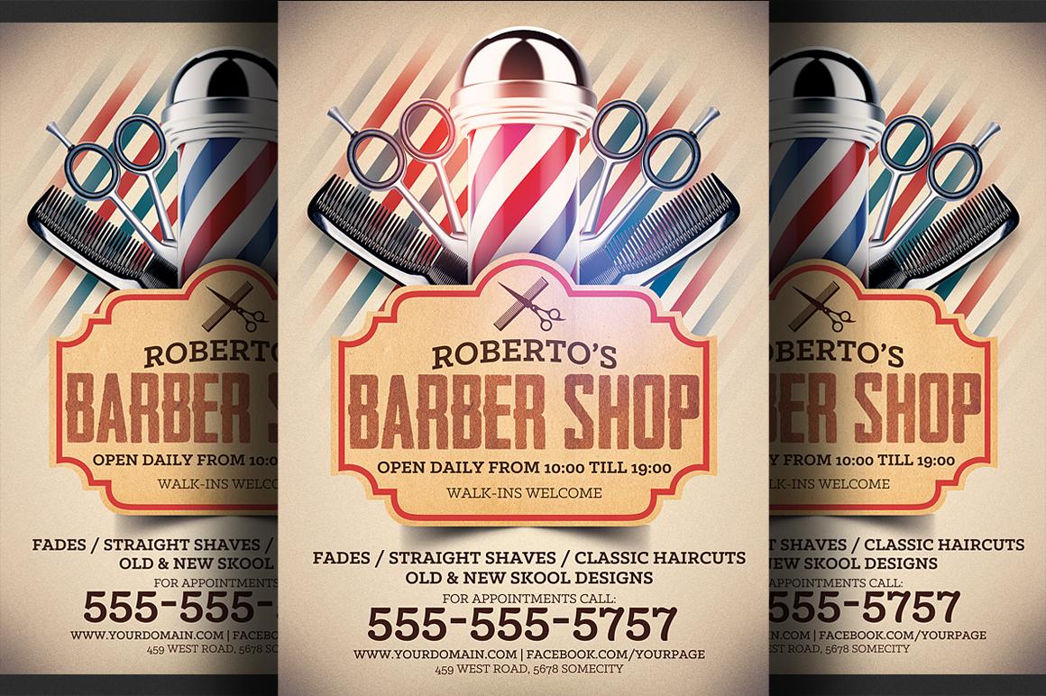 barber shop flyer template flyer templates on creative market. Black Bedroom Furniture Sets. Home Design Ideas