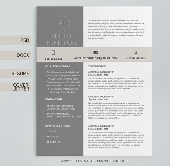 resume cover letter 3 pg template resume templates on creative