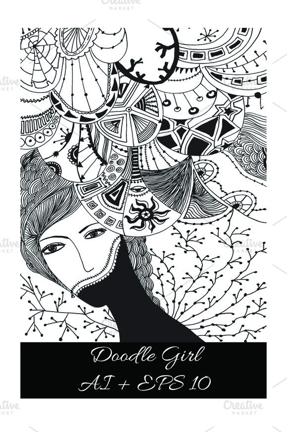Doodle Girl. Abstract illustration. - Illustrations