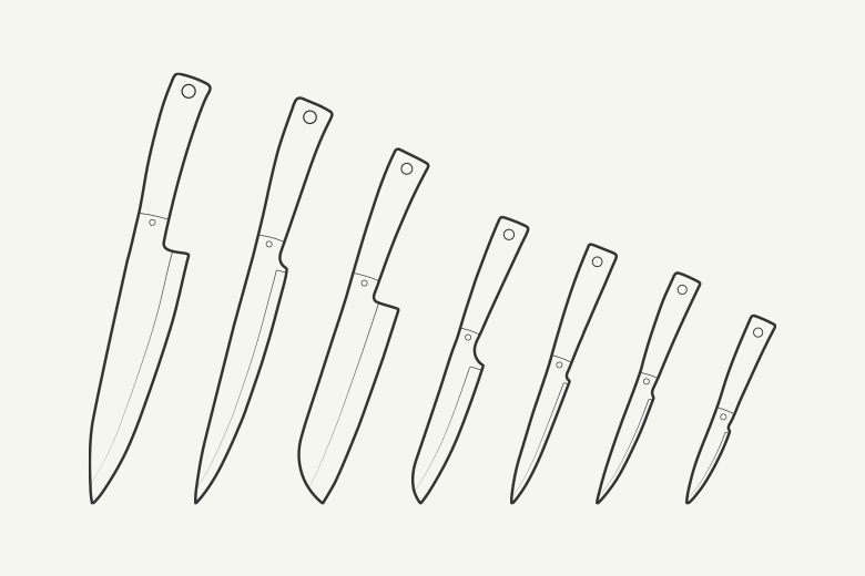 Outline Kitchen Knives Objects On Creative Market
