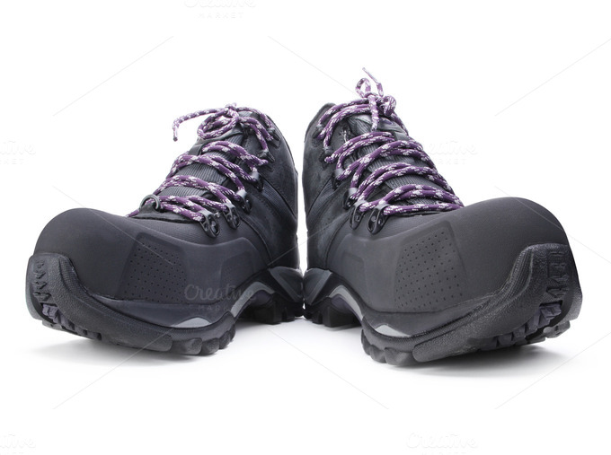 hiking boots on white photos on creative market