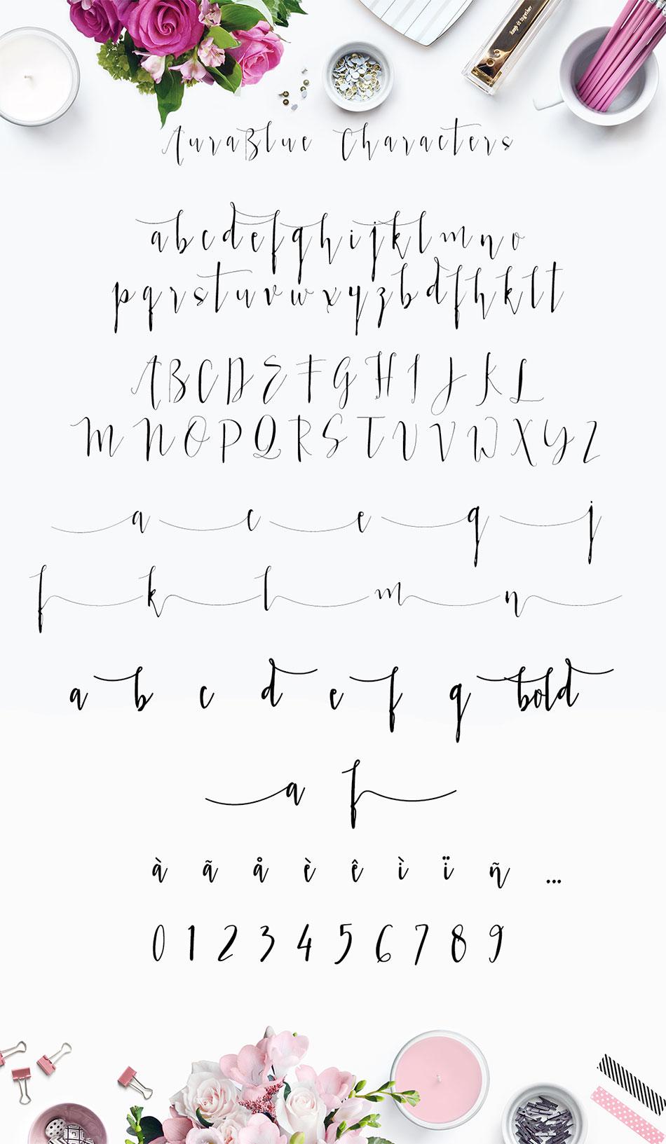 aura blue  modern calligraphy font