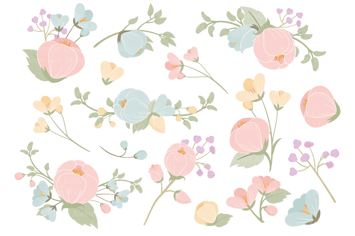 Pastel Flowers Clipart & Vectors Illustrations on Creative Market