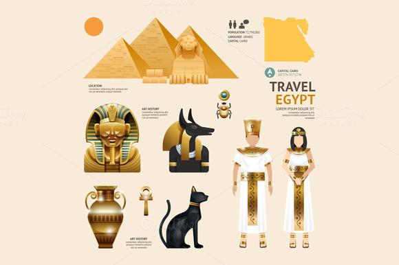 Egypt flat icons design travel presentation templates for Egypt brochure templates