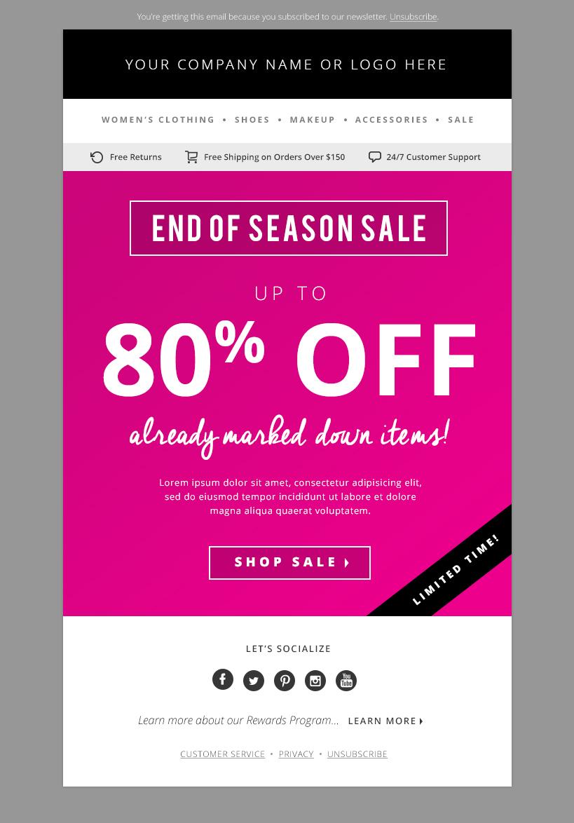 4 sales e mail newsletter templates email templates on creative market. Black Bedroom Furniture Sets. Home Design Ideas