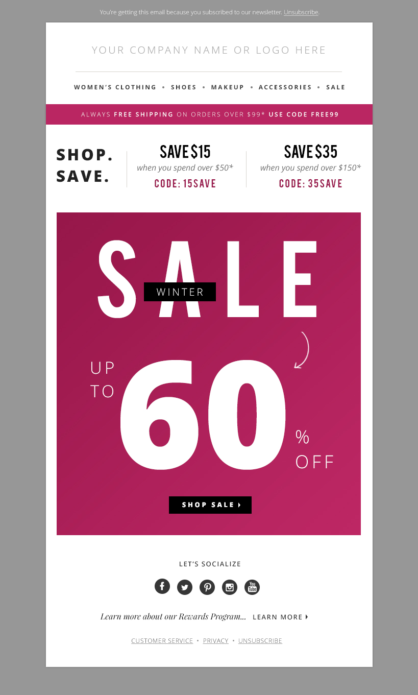 e-mail-1-o Sale Business Newsletter Templates on