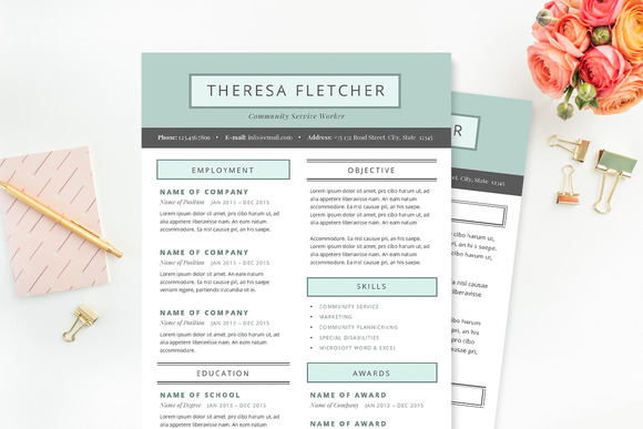 chic resume template package resume templates on creative market pretty resume templates