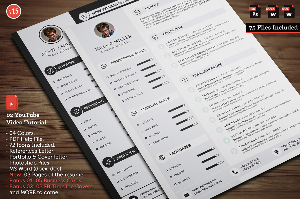 Clean CV Resume Resume Templates on Creative Market