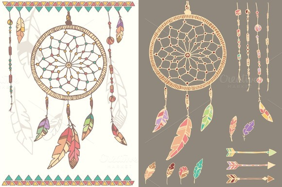 Dream catcher feathers beads illustrations on creative for Dream catcher graphic