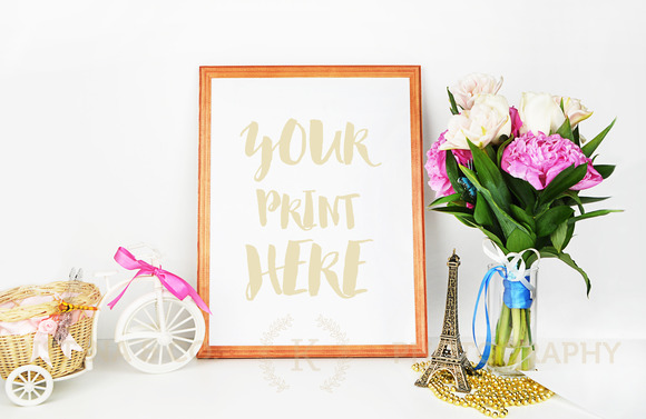 Styled Mockup. Gold and peonies - Product Mockups