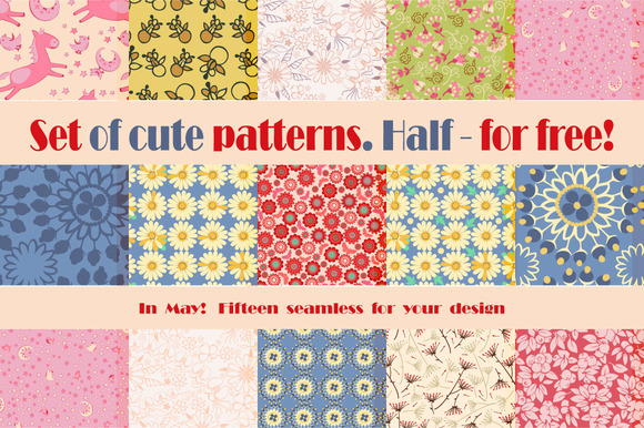 15 of cute patterns. 1/2 - for free! - Patterns