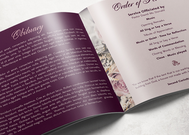 purple rose funeral program template
